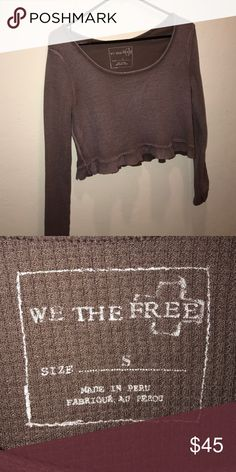 Mauve Free People Crop Long sleeve free people crop top. Purplish/Brown (Mauve) Color. Made in Peru. Exclusive item only, they do not sell it anymore. Size Small Free People Tops Crop Tops