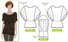 Island Ali Top - batwing gathered waist sewing pattern from style arc