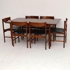 Retro Rosewood dining tabke chairs for sale London IB Kofod Larsen   retrospectiveinteriors.com