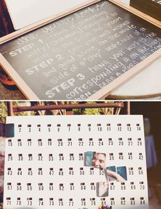 #guestbook: take a picture to make #ed chips. have guests write well wishes on white side of chip. guests hang the chip according to the # of the chip to complete the picture.