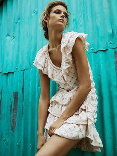 Kate Bock models ruffle embellished mini dress by Chanel for Telva Magazine June 2016 issue
