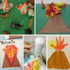 7 days of exploring volcanos with toddlers and preschoolers - activities for each day of the week, including printable planner Science For Toddlers, Toddler Learning Activities, Kindergarten Activities, Volcano Activities, Dinosaur Activities, Dinosaurs Preschool, Toddler School, Tot School, Preschool Lesson Plans