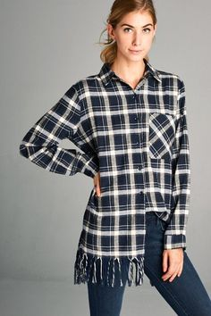 Navy Fringe Plaid Button Up