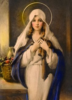 """""""Madonna of the Sacred Coat:"""" Charles Bosseron Chambers Blessed Mother Mary, Divine Mother, Blessed Virgin Mary, Religious Images, Religious Icons, Religious Art, Sainte Therese De Lisieux, Image Jesus, Marie Madeleine"""