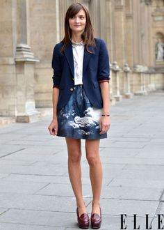 Street Chic: Paris A showgoer wears a vintage jacket, Carven top, skirt, and shoes. Photo: Courtney DAlesio