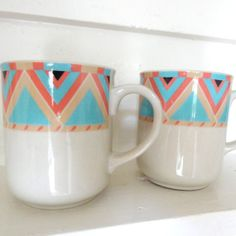 Vintage Pair of 2 Tribal Chevron Print Coffee Mugs/ by LaGypsyYaya, $24.00