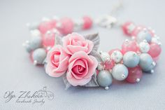 Bracelet with a bouquet of delicate pink roses made of polymer clay