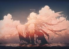 This HD wallpaper is about female anime character with wings wallpaper, angel, clouds, water, Original wallpaper dimensions is file size is Comic Japan, Wings Wallpaper, Angel Clouds, Character Design Cartoon, Comic Character, Image Manga, Female Anime, Anime Art Girl, Anime Girls