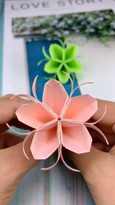 This is a pointed peach. It is folded out like this with paper. Will you fold out such a peach after reading it? This is a pointed peach. It is folded out like this with paper. Will you fold out such a peach after reading it? Cool Paper Crafts, Paper Flowers Craft, Paper Crafts Origami, Flower Crafts, Diy Flowers, Diy Paper, Paper Crafting, Flower Oragami, Flower Paper
