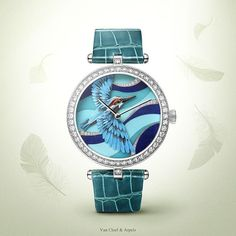 「Watches&Wonders 2015 - The Poetry of Time™ by Van Cleef & Arpels. Lady Arpels Martin-Pêcheur Azur - white gold, diamonds, miniature feather art, alligator…」