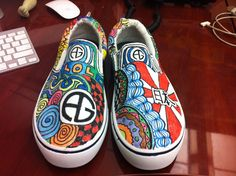 Shoes I drew on with fabric markers for my little sister.