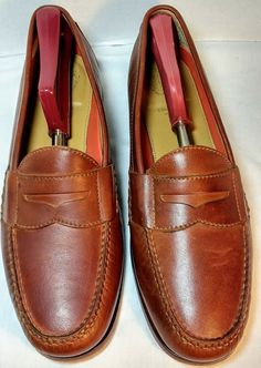 ad773d5601 Cole Haan Grand OS Pinch Men's Brown Penny Loafers 9 D Patent Leather Shoes.  Condition is Pre-owned.