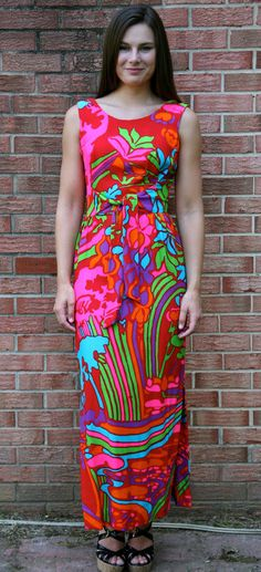 Vtg 70s Psychedelic HAWAIIAN Neon OP ART Hippie Boho RAINBOW DRESS