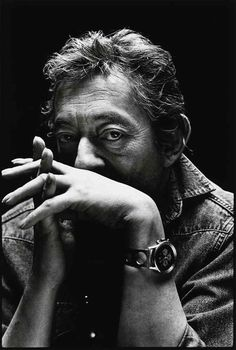 ♂ Black and white man portrait Serge Gainsbourg