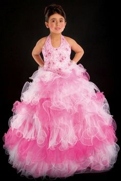 Another image of Party Time Perfect Angels Girls Tiered Ruffle Tulle Pageant Dress 1304