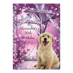 30th Birthday Golden Retriever Winter Pink 5x7 Paper Invitation Card