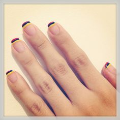 Colombian flag ❤ Colombian Flag, Simple Nails, Easy Nails, Simple Nail Designs, Nail Decorations, Fabulous Nails, Hair And Nails, Nail Colors, Manicure