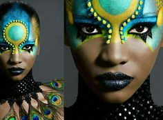 Blk make turq Tribal Makeup, Extreme Makeup, Fantasy Make Up, Make Up Art, Fx Makeup, Maquillage Halloween, Crazy Makeup, Costume Makeup, Face Art