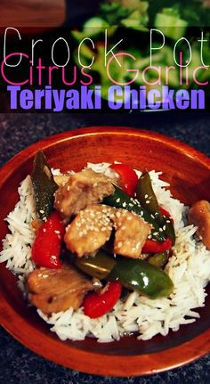 Crock Pot Citrus Garlic Teriyaki Chicken! Only 150 Cals & 18 g Protein! #fall #crockpot #healthy