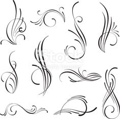 Vector design of decorative elements - Royalty-free Abstract stock vector Painted Letters, Painted Signs, Tattoo Lettering Fonts, Hand Lettering, Pinstripe Art, Pinstriping Designs, Copperplate Calligraphy, Art Drawings For Kids, Cool Bike Accessories