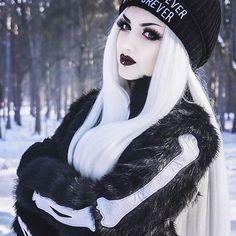 ❄️☠Bone chillin' look from the stunning @obsidiankerttu ☠❄️ Bone In Fur Jacket in stock now! (Shop Link In Bio) #ironfistclothing #Shopaholic #vegan