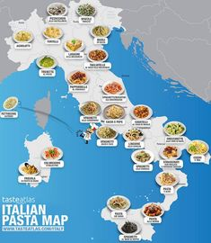 Top 25 delicious Italian pasta dishes you should taste, beyond Spaghetti Bolognese, described by by region with pictures and map Italy Vacation, Italy Travel, Travel Europe, Travel Ads, Food Travel, Food Map, Food Food, Italian Pasta Dishes, Italy Food