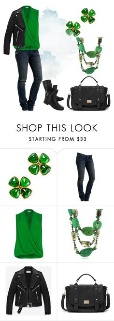 """Irish and proud"" by stella-de-luna-fashion ❤ liked on Polyvore featuring Chanel, WeSC, Hush Puppies, River Island, Yves Saint Laurent and Sole Society"