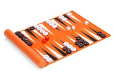 Travel backgammon set in orange calf leather, £165, by Aspinal of London (www.aspinaloflondon.com)
