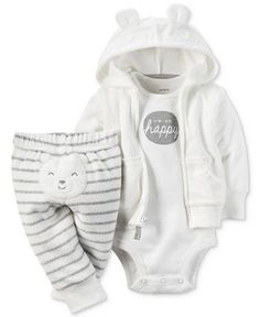 Carter's Baby Boys' 3-Pc. Hoodie, Bodysuit & Pants Set