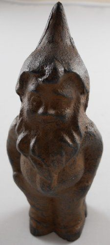 """Iron Gnome Figurine Paperweight by INsideOUT. $6.95. Gnome Paperweight  Small gnome paperweight in standing position  Made of cast iron  Finished in our popular rust color  A unique piece for your desk  Measures 5""""H x 2""""L x 2""""W"""