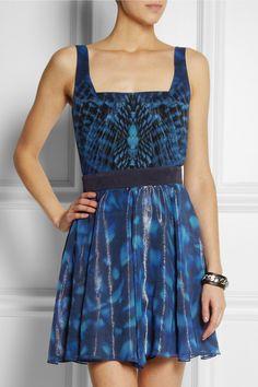 CAPITOL COUTURE BY TRISH SUMMERVILLE | Mockingjay printed silk-chiffon dress | NET-A-PORTER.COM