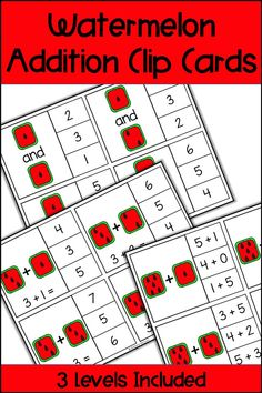 These Watermelon Addition Clip Cards provide a fun and differentiated math center for your students! Your students can use dice and math equations to practice addition facts. There are 3 levels of cards provided to help you differentiate for your students