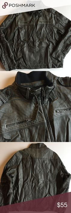 "BKE BUCKLE Slim Fit Faux Leather Moto Bomber Grey Men's XL BKE BUCKLE Slim Faux Leather Moto Pilot Bomber Zip Jacket Grey Stitch Faux leather bomber moto style jacket by BKE Buckle. Great condition. Previously had a zip in liner which is NOT included but photos demonstrate extra zippers. Lots of stitching, zipper, and buckle details. Perfect casual jacket.   Size Men's XL Chest: 52""  Waist: 52""  Length: 28""  Sleeve: 28"" BKE Jackets & Coats"