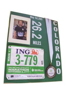 Marathon medals and bibs display with photo by runningonthewall, $49.00