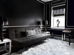 ideas black wall color black sofa white area rug