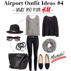 """""""Airport Outfit Ideas #4 -Under $50 From H&M-"""" by nozomy on Polyvore"""