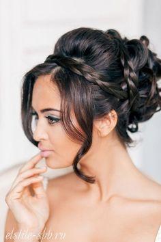 Wedding hairstyles for curly hair. Wedding hairstyles for long hair. Wedding hairstyles for small hair. New Bridal Hairstyle, Wedding Hairstyles For Long Hair, Wedding Hair And Makeup, Hair Makeup, Wedding Updo, Evening Hairstyles, Bridal Braids, Lily Wedding, Bridal Makeup