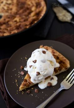 This Snickerdoodle Skookie is a big snickerdoodle cookie studded with cinnamon chips baked in a cast iron skillet served warm with a scoop of vanilla ice cream.