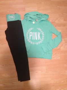 Victoria  Secret Pink blue sweatshirt and yoga pants. Clothing type 4bc5b92fa