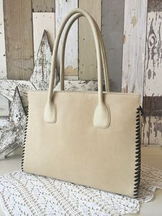 Juan Antonio Large Ocean Beige Handbag  Made in the USA