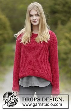 """Merry and Bright - Knitted DROPS jumper in garter st and stockinette st in """"Melody"""". Size S-XXXL. - Free pattern by DROPS Design"""