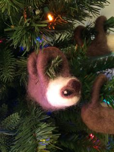 Needle-felted Sloth Christmas Ornament by Slothmas on Etsy