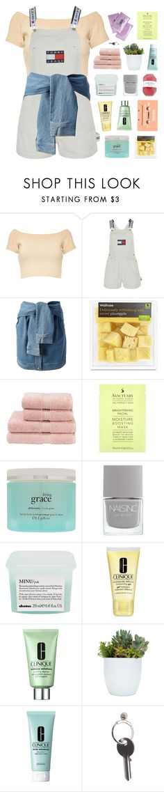 """""""todays been tragic"""" by apparentlys ❤ liked on Polyvore featuring Alice + Olivia, Tommy Hilfiger, DKNY, Christy, philosophy, Davines, Clinique and Maison Margiela"""