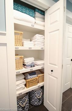 A step by step tutorial for how to completely organize your linen closet, purging and assessing what you need and then corralling items together. - Home Projects We Love Linen Closet Organization, Closet Storage, Bathroom Organization, Organization Ideas, Bathroom Ideas, Bathroom Storage, Linen Closet Shelving, Plum Bathroom, Seashell Bathroom