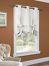 The Weathermate Grommet Top Tie Up Curtains from Commonwealth Home Fashions are made from 'insulated' cotton duck fabric. The acrylic suede backing provides room darkening, outside noise reduction and energy efficiency qualities. Tie Up Curtains, Grommet Curtains, Blackout Curtains, Window Curtains, Bedroom Windows, Valances, Tie Up Shades, Home Cooler, Shades Blinds