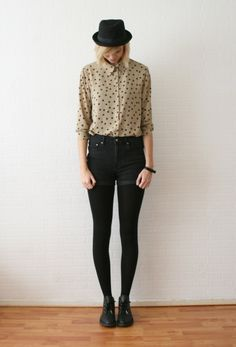 love the shirt, but I'd wear it with a skirt or skinnies. I think the whole shorts with tights/leggings looks kinda trashy...