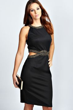 Sienna Embellished Cut Out Detail Bodycon Dress-a tasteful yet sexy way to show some skin