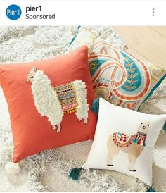 Yeah I know at least one of the pillows is a llama but the other looks like an Alpaca and alpacas are of the llama family anyway. Alpacas, Llama Pillow, Llama Llama, Peru Llama, Llama Face, Baby Llama, Funky Cushions, Outdoor Cushions, Llama Decor