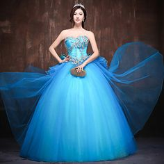Formal Evening Dress - Pool Petite Ball Gown Sweetheart Floor-length Satin / Tulle / Polyester – USD $ 159.99