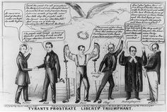 """There was once a political battle known as the """"Dorr Rebellion,"""" where militia's clashed in an attempt to bring broader democracy to the state. Election Cartoons, Rhode Island History, New England Travel, Declaration Of Independence, History Books, Vintage Love, Liberty, Battle, Bring It On"""